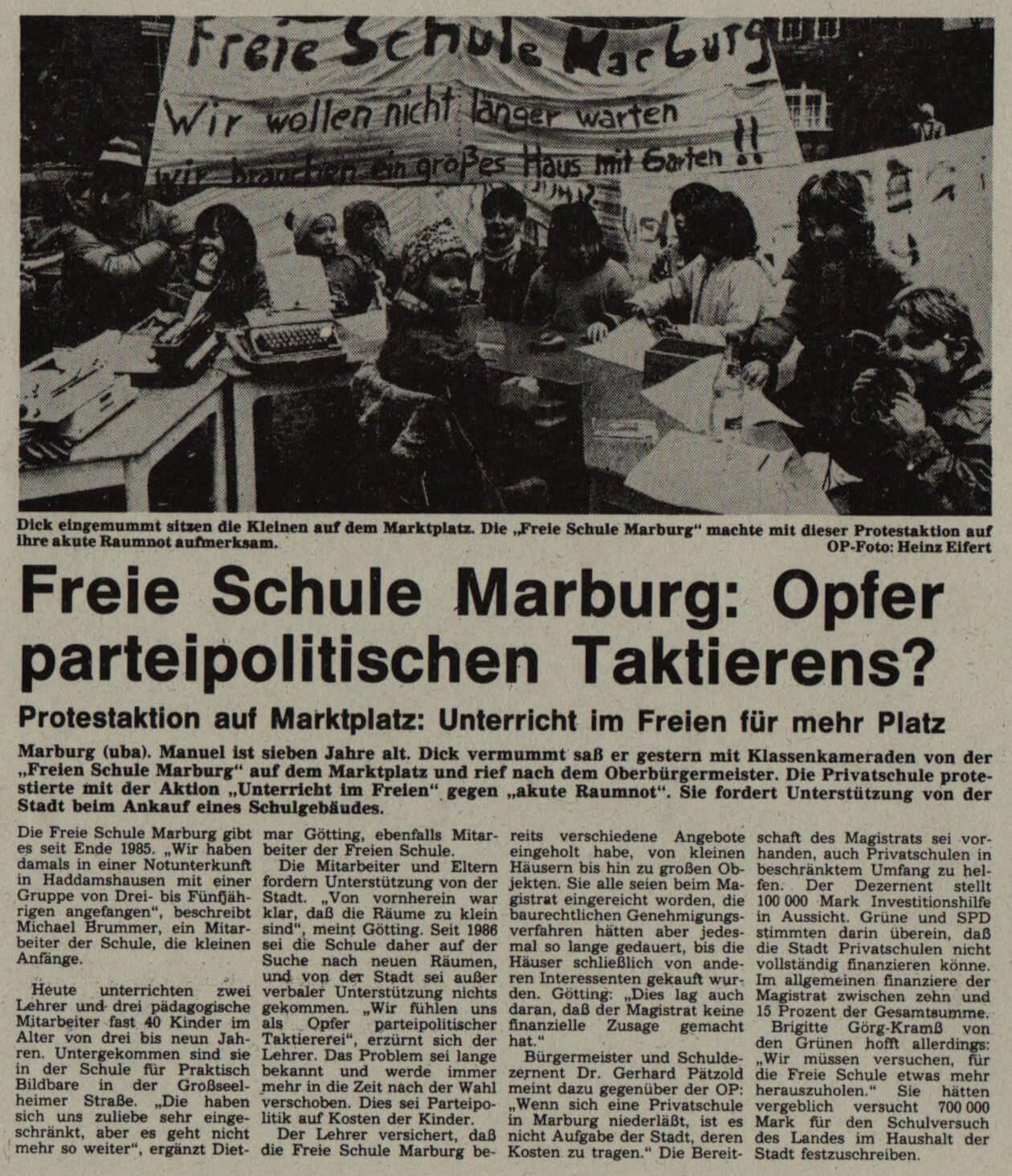 Protestaktion zur Raumsuche, Oberhessische Presse am 01.02.1989